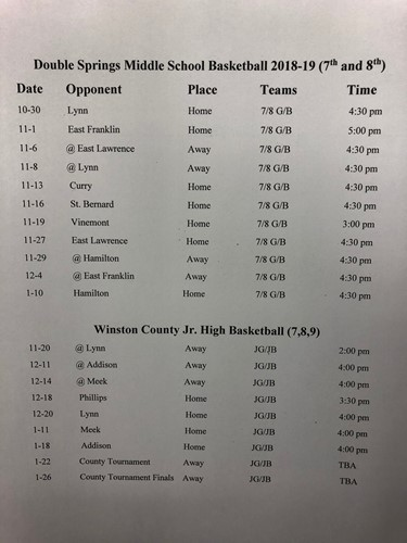 2018-19  MS/JH Basketball Schedule