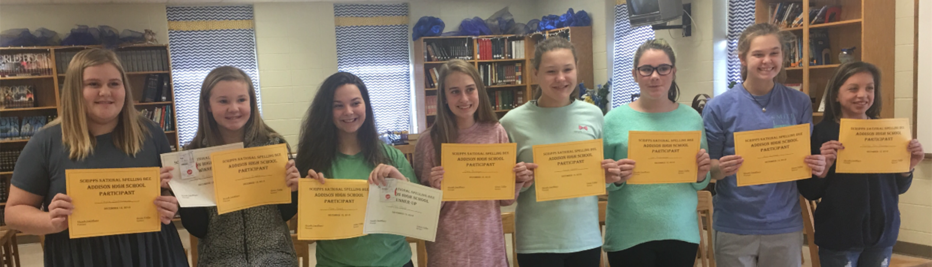 7th and 8th grade classroom spelling bee winners