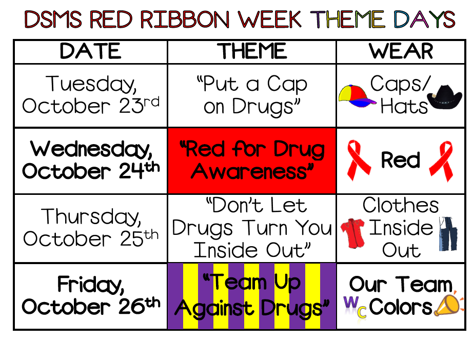 DSMS Red Ribbon Week Theme Days