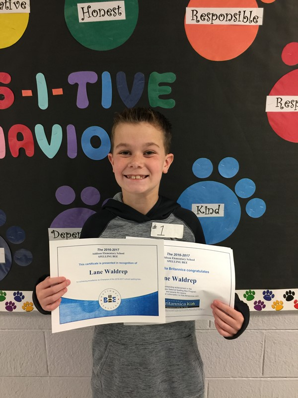 Spelling Bee Winner, Lane Waldrep (4th Grade). Congratuations!